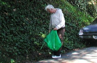 Larry of building R 3 picking up litter on Whitmore St Saturday morning.