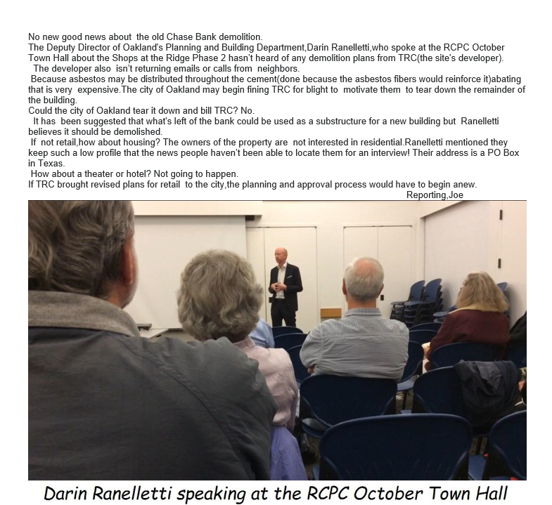 Oakland City Planner speaking at the 10-19-2017 RCPC Town Hall