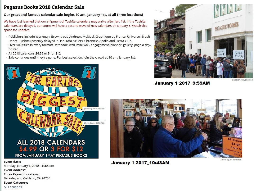2018 Pegasus calendar sale notice 12-26-2017