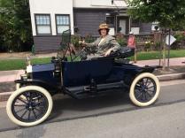 Aja De Coudreux posing in Brian Harlamoff's 1913 Model T Runabout 7-4-2017_2230 (4)